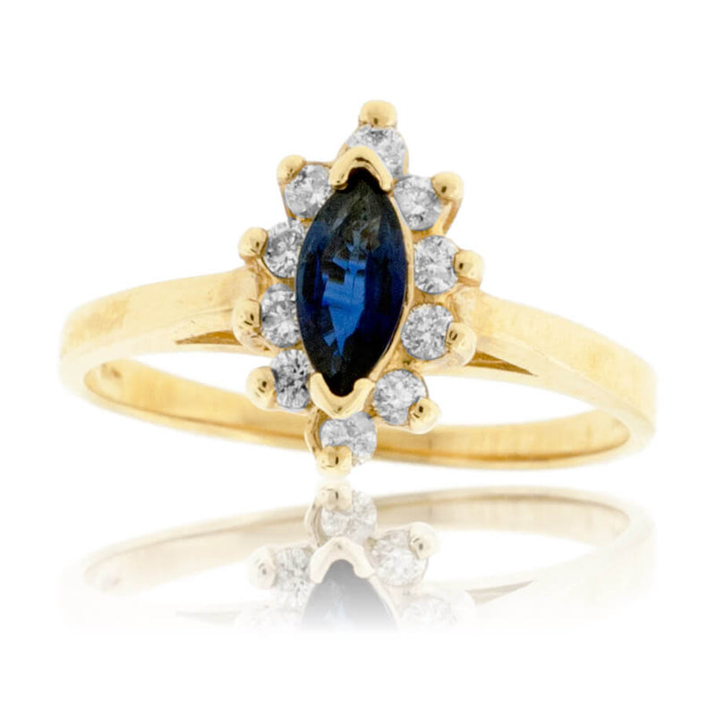 Marquise Blue Sapphire and Classic Diamond Halo Ring