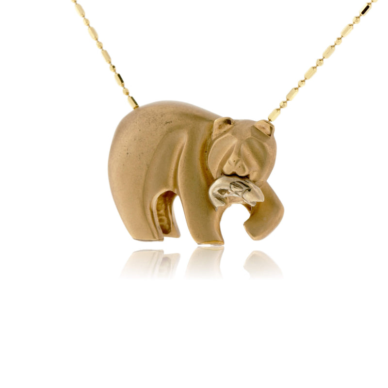 Bear Gone Fishing Sterling Silver Necklace Large