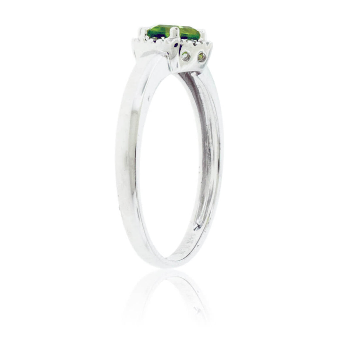 Hexagon Shaped Peridot and Diamond Halo Ring