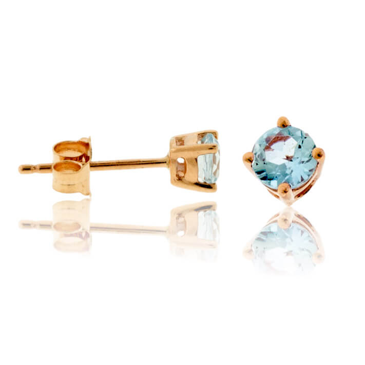 Round Cut Aquamarine Stud Earrings