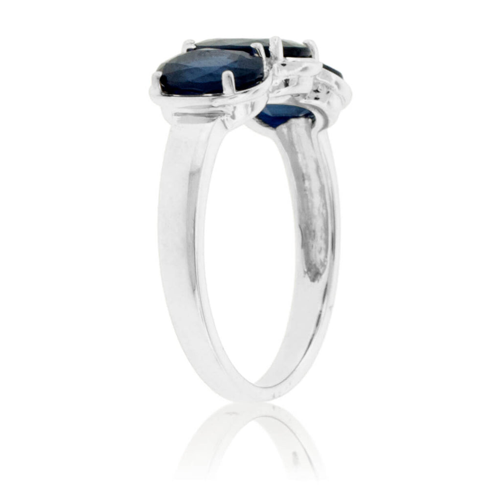 Blue Sapphire Three Stone Oval Ring