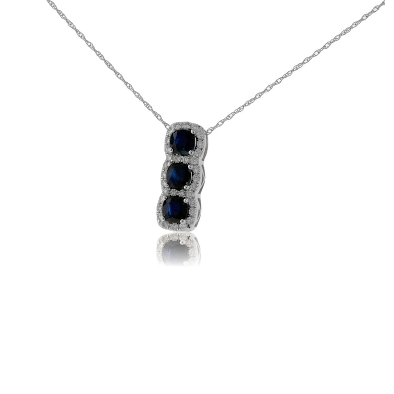 Three Blue Sapphire with Diamond Halo Pendant
