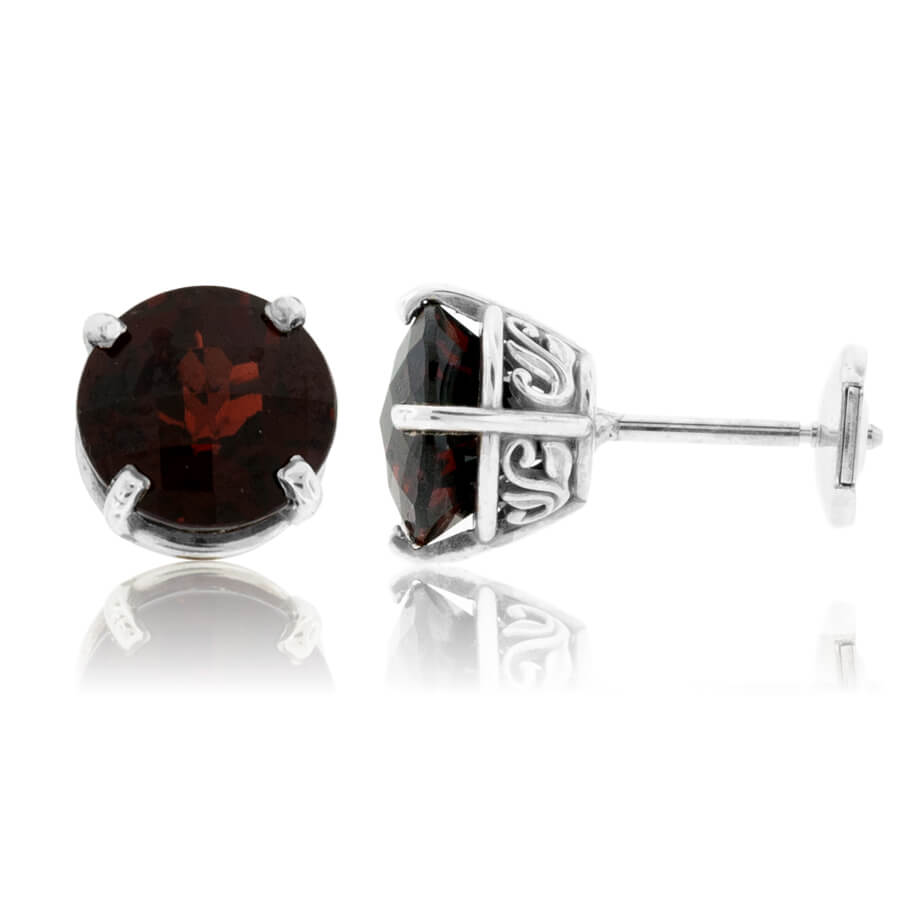 Round Garnet Stud Earrings