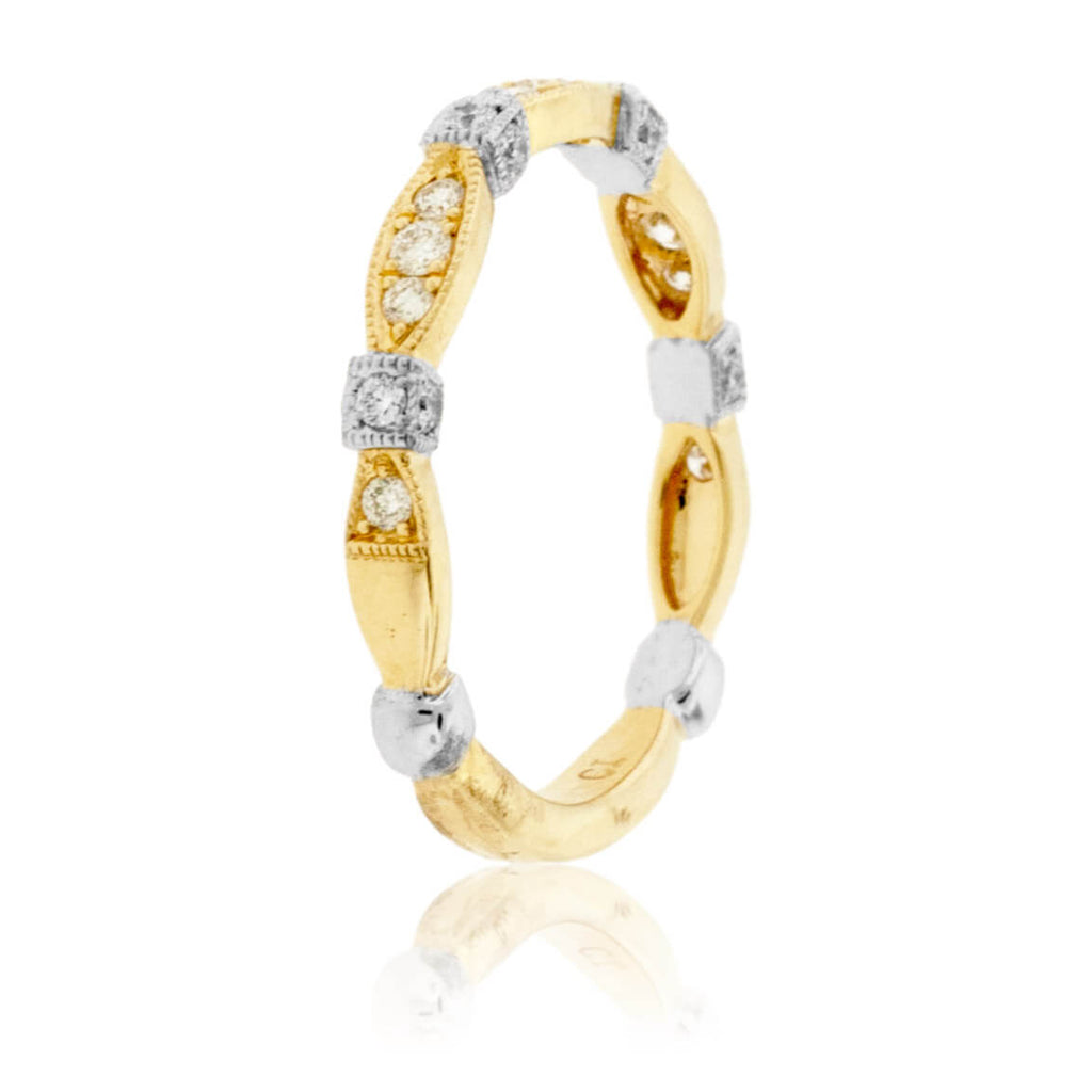 Yellow Gold Marquise Shape Round Diamond Style Band