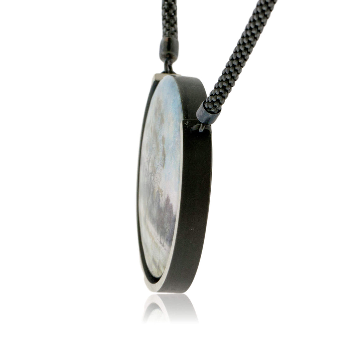 Sterling Silver Misty Morning Circle Enamel Pendant w/Chain