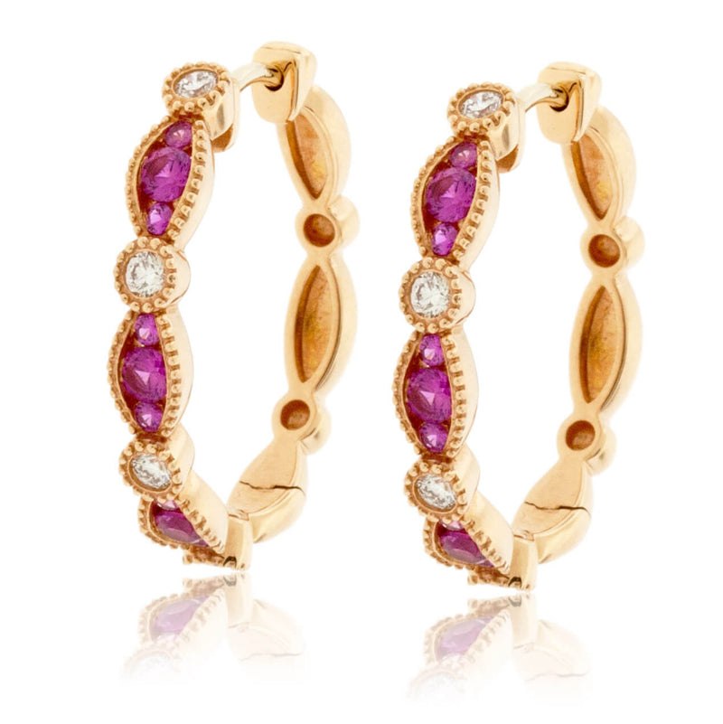 Pink Sapphire & Diamond Accented Hoop Earrings