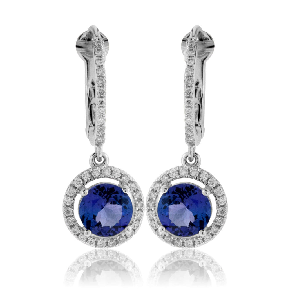 Round Tanzanite & Diamond Halo Dangle Earrings