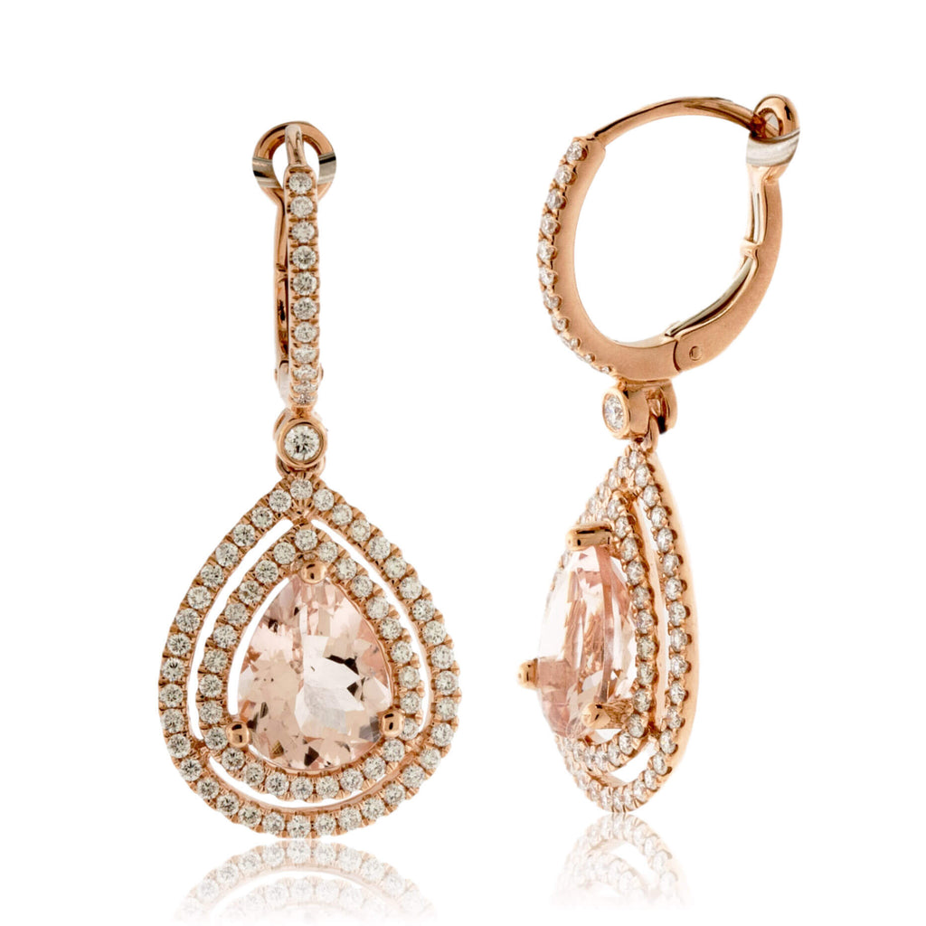 Tear Drop Pink Morganite and Double Diamond Halo Drop Earrings