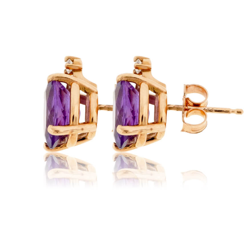 Oval Amethyst Stud Earrings with Single Diamond Accent