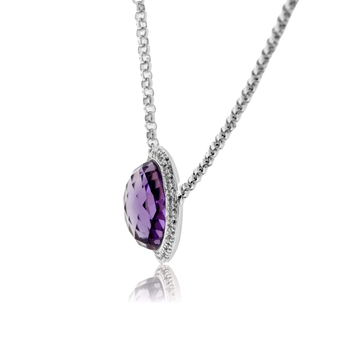 Round Amethyst & Diamond Halo Necklace