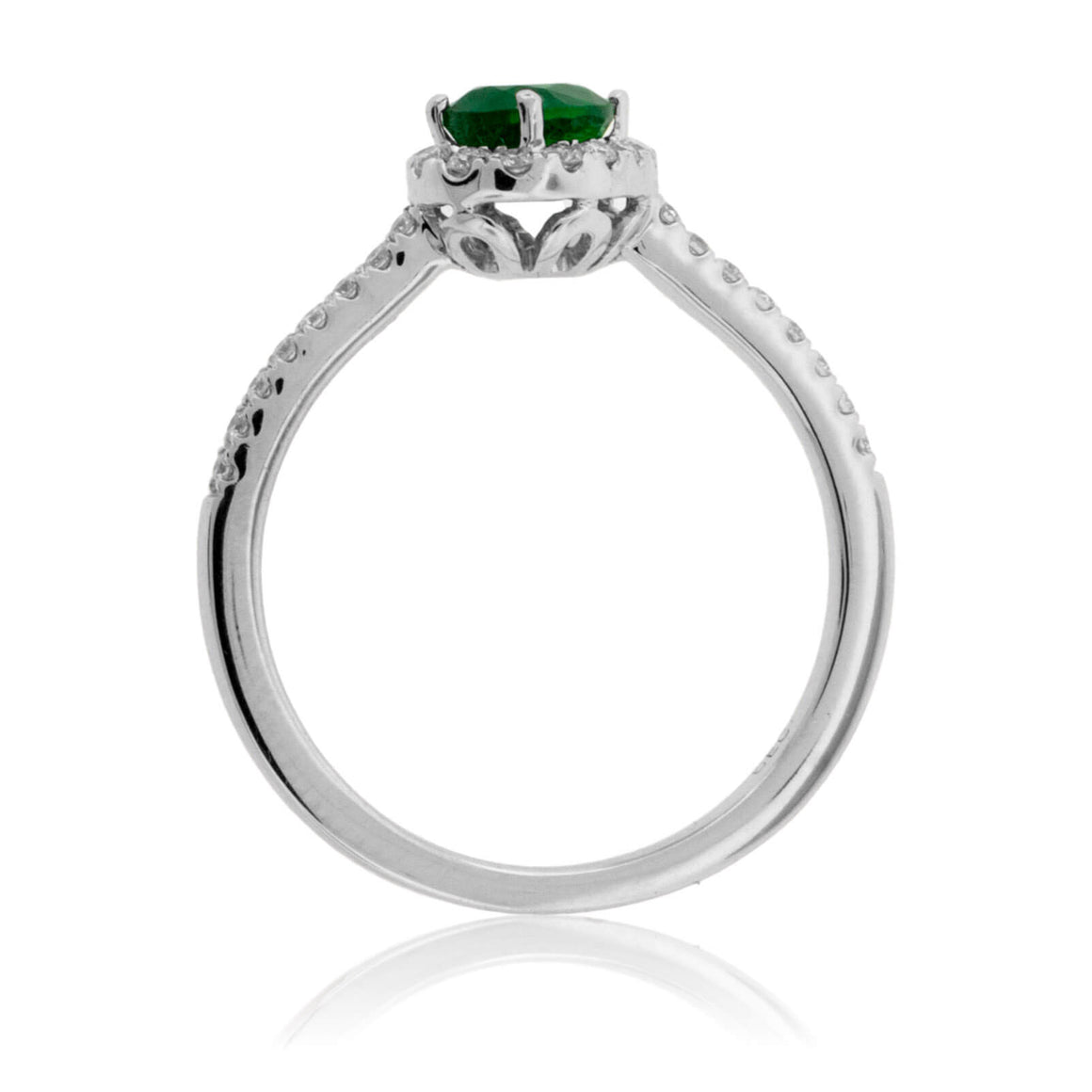 Tilted Oval Green Emerald & Diamond Halo Style Gold Ring