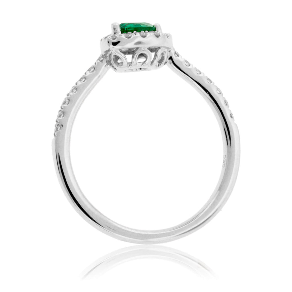 Tilted Pear Green Emerald & Diamond Halo Style Gold Ring