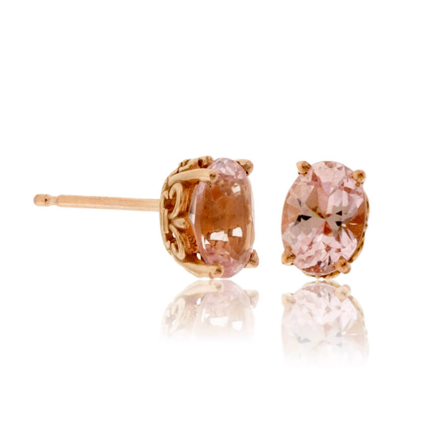 Oval Pink Morganite Stud Earrings