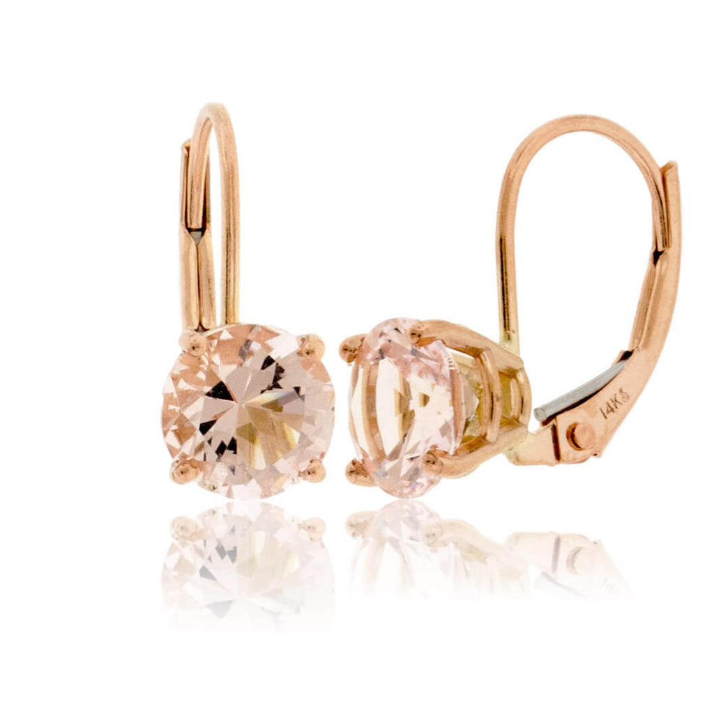 Round Pink Morganite Stud Drop Earrings