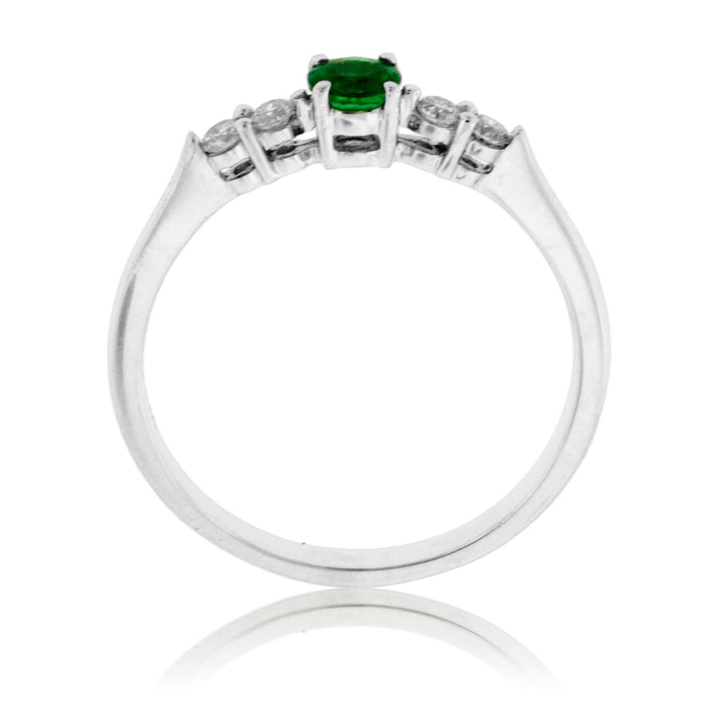 Round Emerald and Diamond Accented Band