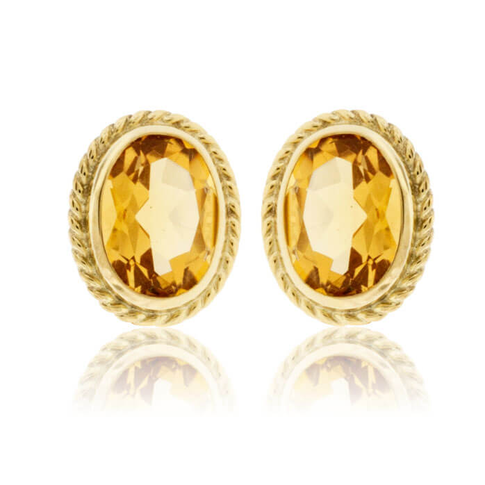 Oval Citrine & Rope Halo Stud Earrings