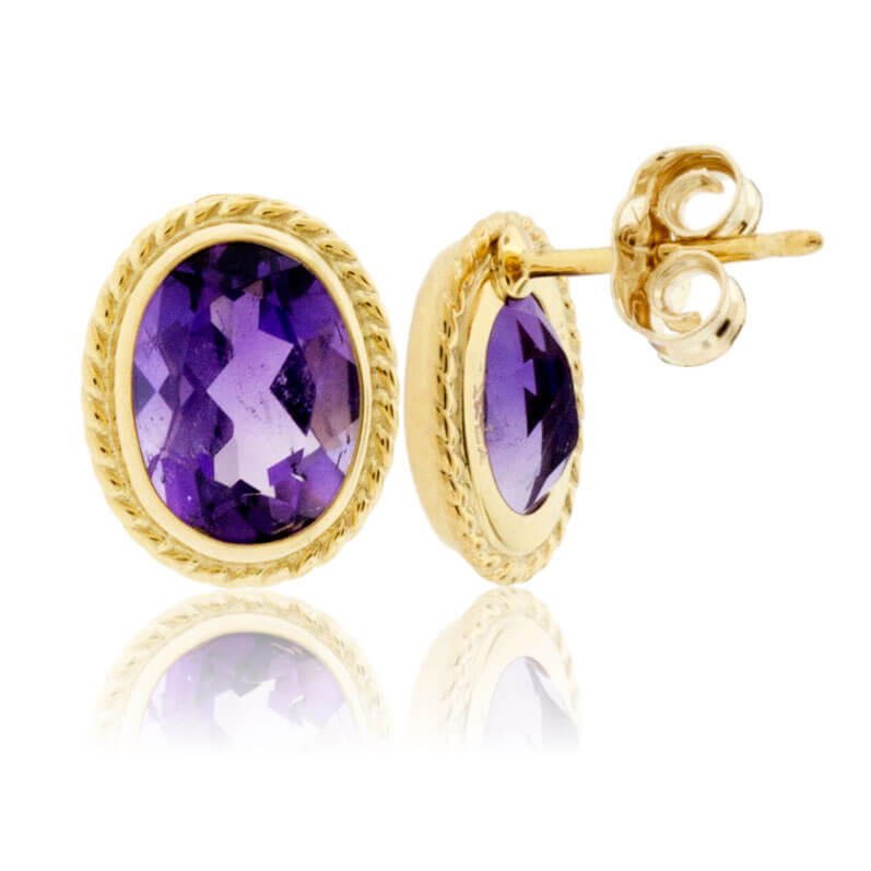 Yellow Gold Rope & Amethyst Rope Stud Earrings