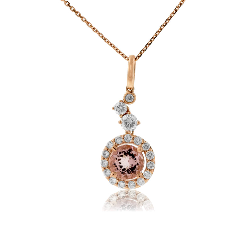 Tilted Morganite and Diamond Halo Pendant