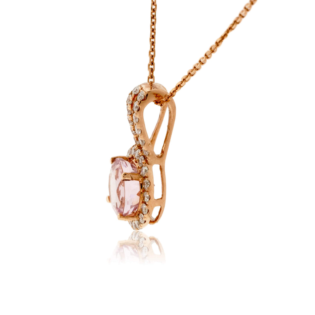 Round Morganite and Diamond Halo Pendant