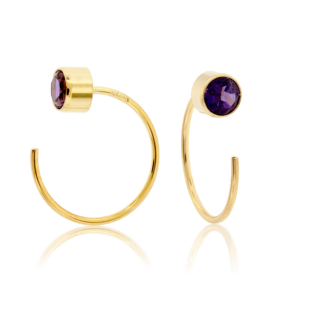 Bezel Set Amethyst Reverse Hoop Earrings