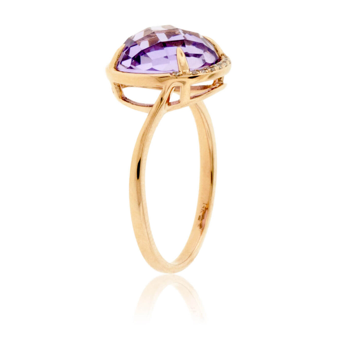 Fancy Round Cut Amethyst and Diamond Halo Ring