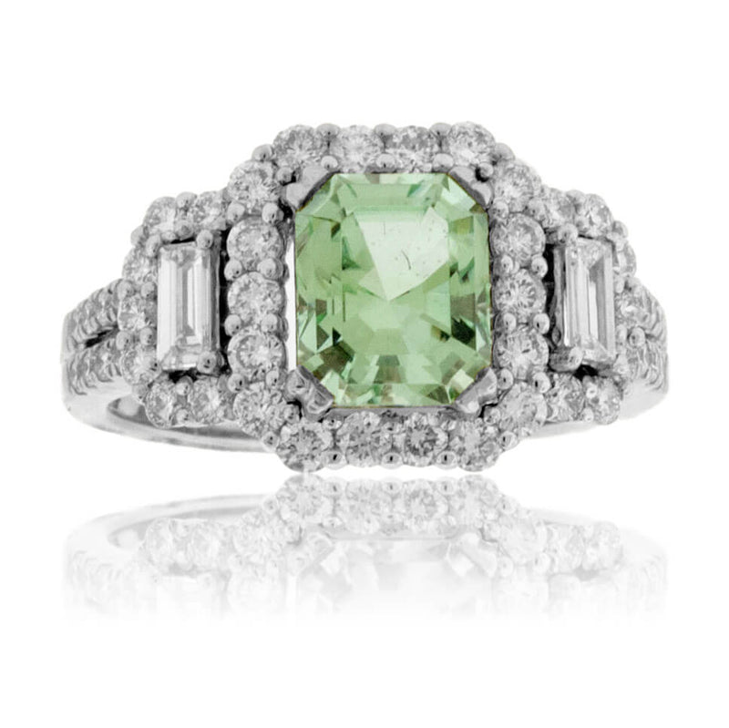 Sea Foam Green Tourmaline & Diamond Ring