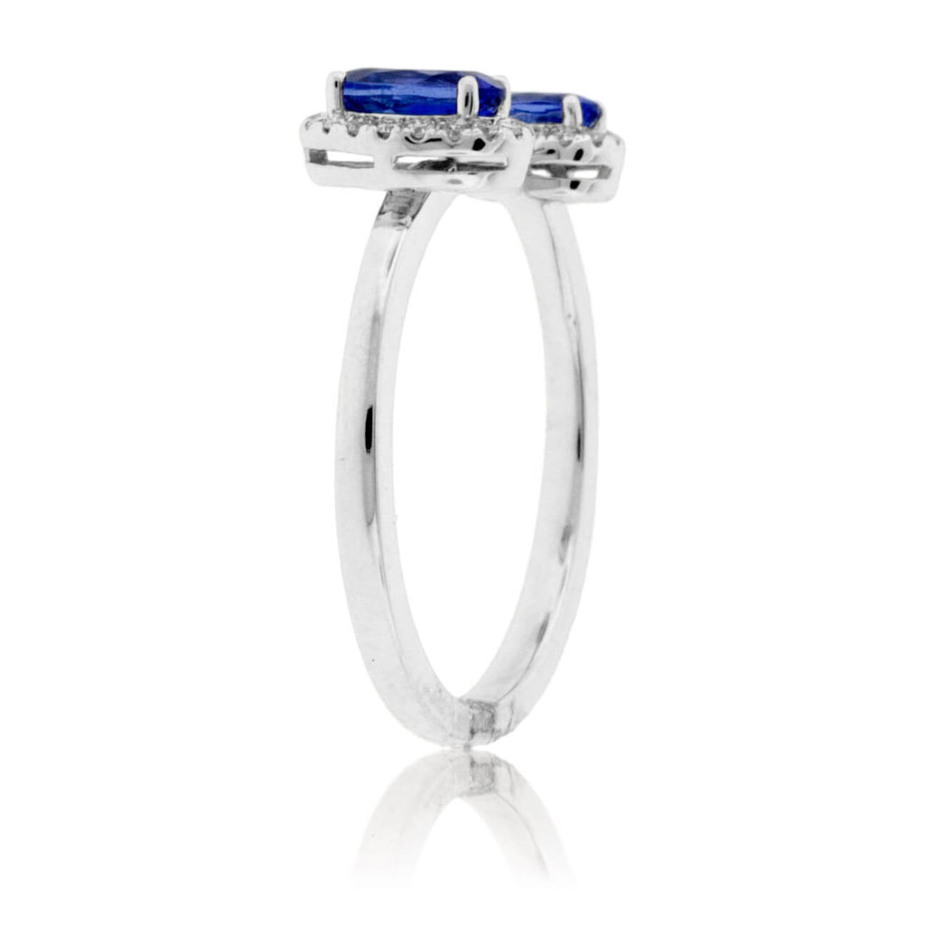 Double Tanzanite & Diamond Halo Ring