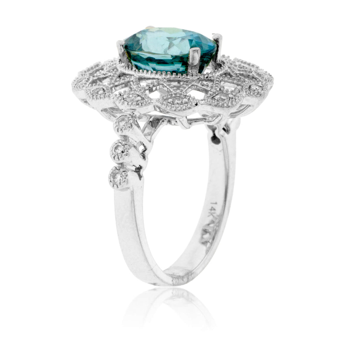 Oval Intricate Blue Zircon & Diamond Ring