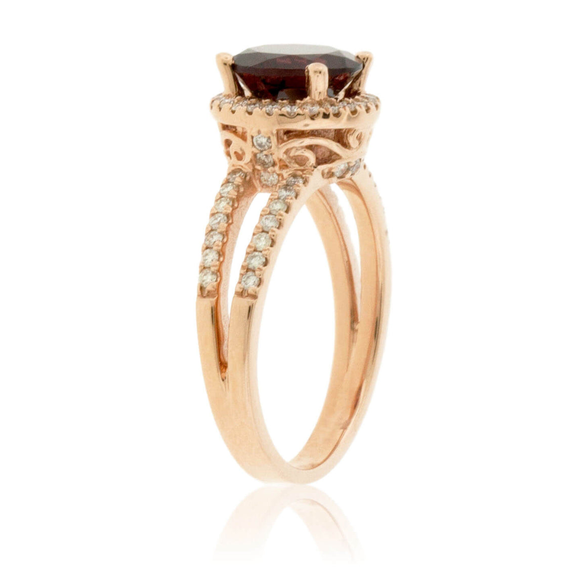Round Garnet and Diamond Split Shank Style Rose Gold Ring