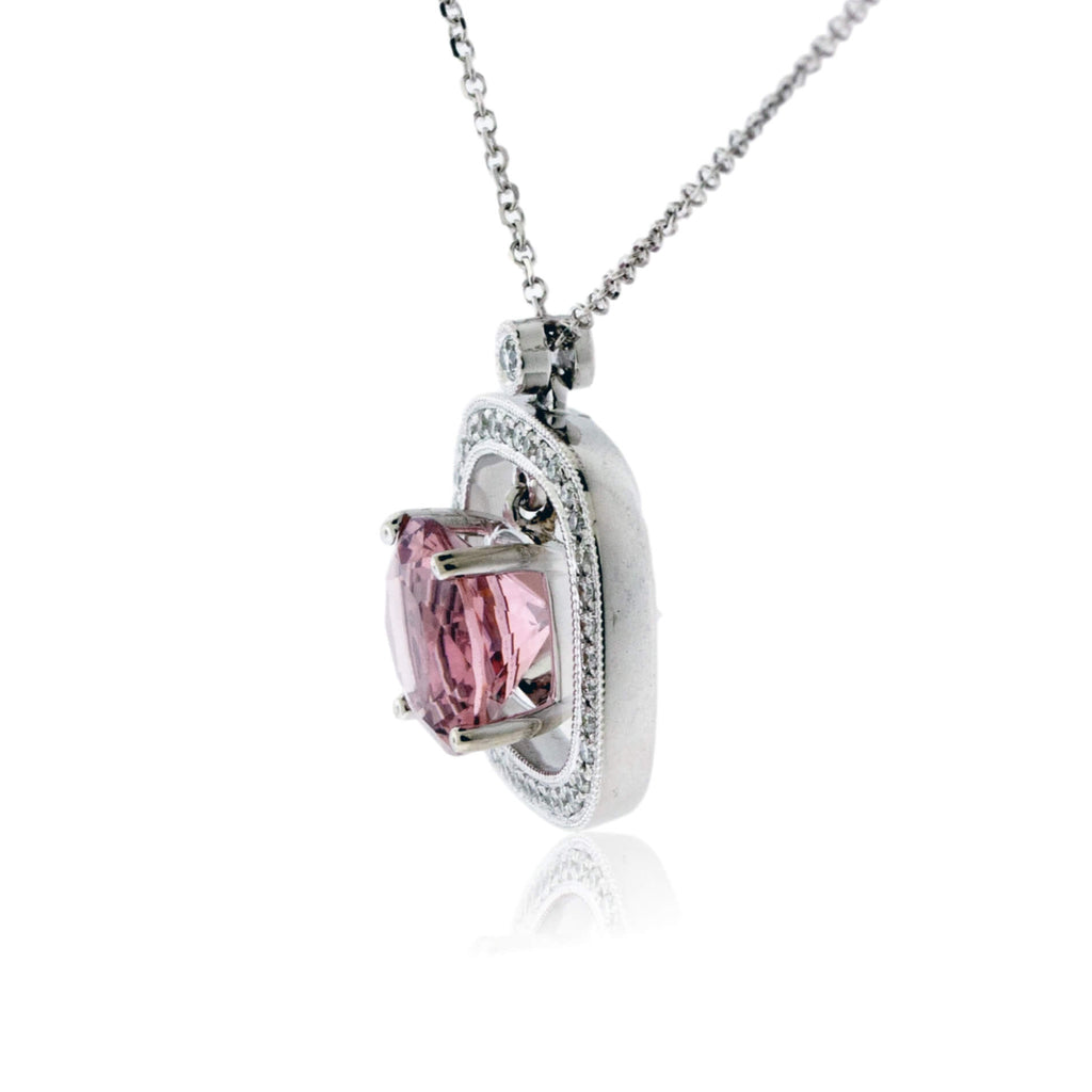 Round Morganite and Diamond Milgrain Halo Pendant