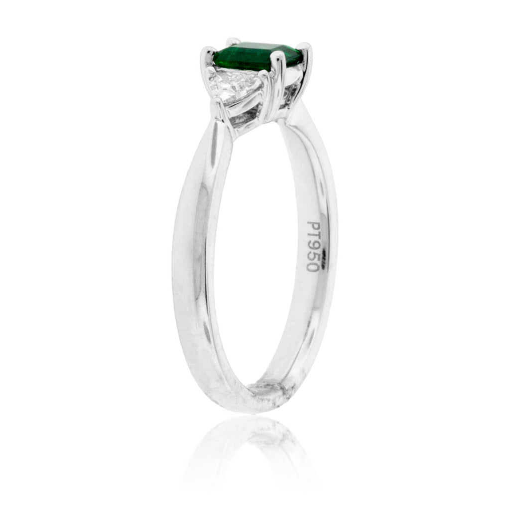 Emerald-Cut Emerald & Diamond Accented Ring