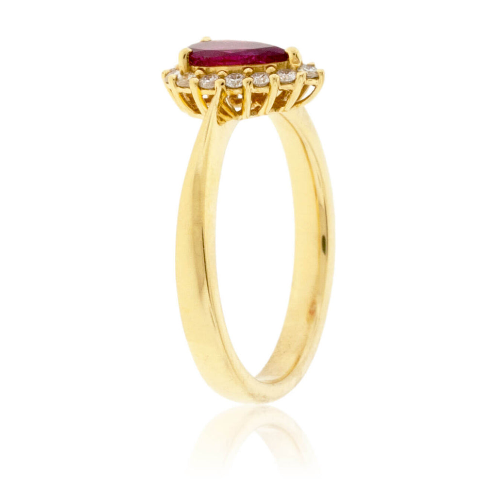 Pear Red Beryl Emerald & Diamond Halo Yellow Gold Ring