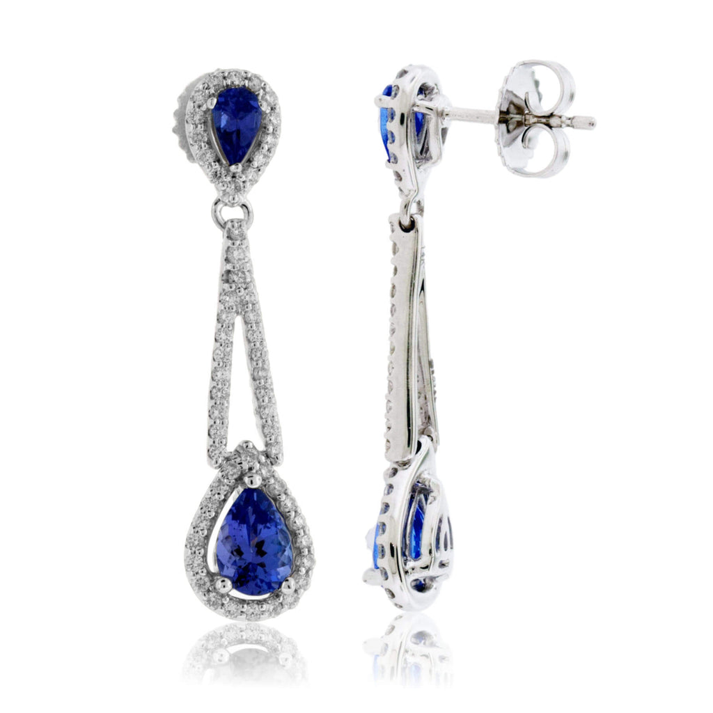 Double Pear Shaped Tanzanite with Diamond Halo Earrings