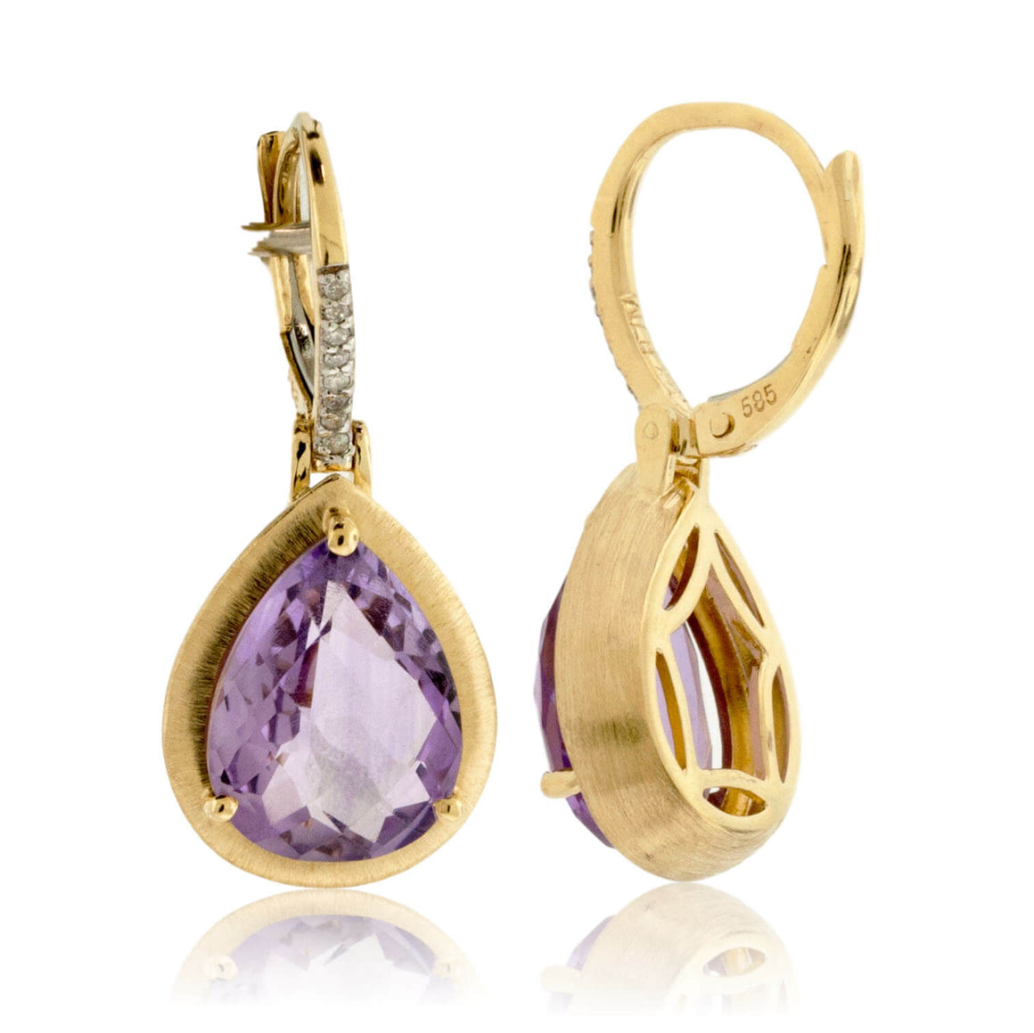 Yellow Gold Textured Amethyst Drop Earrings