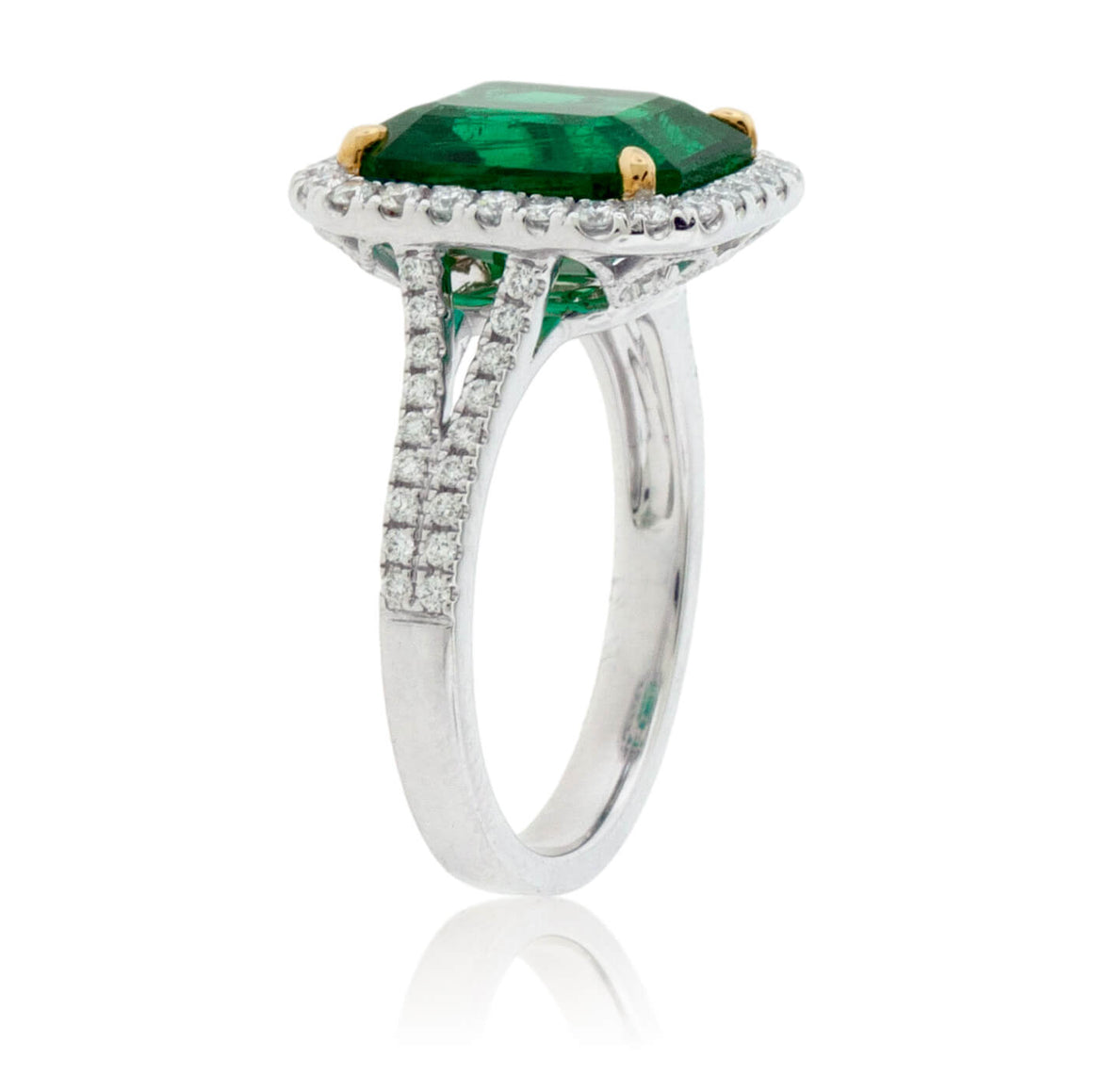 Emerald-Cut Emerald & Diamond Halo Ring