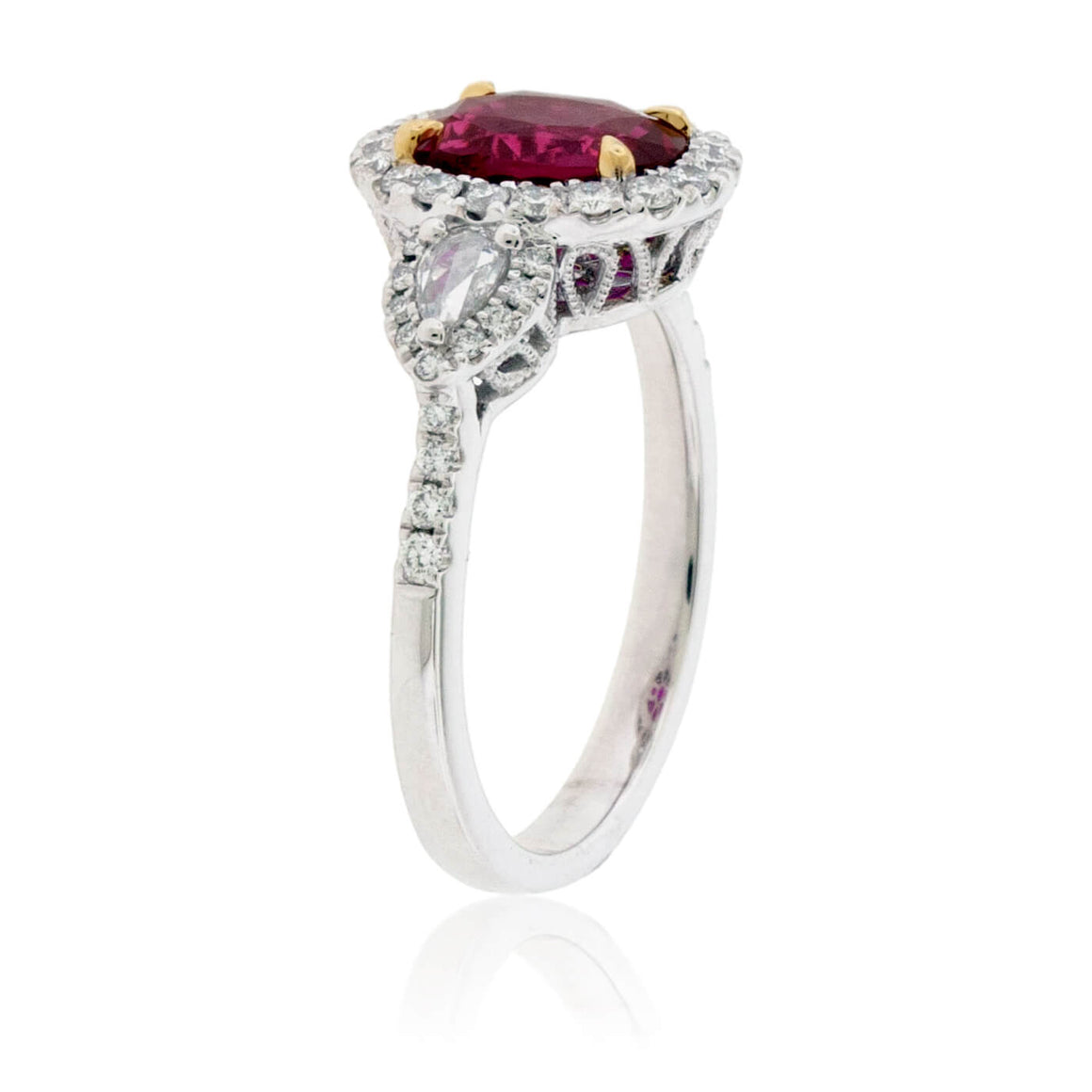 Oval Cut No Heat Ruby & Diamond Three Stone Ring