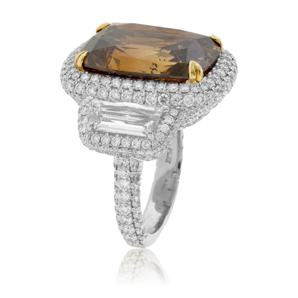 Platinum & Yellow Gold Brown Diamond Stunning Ring