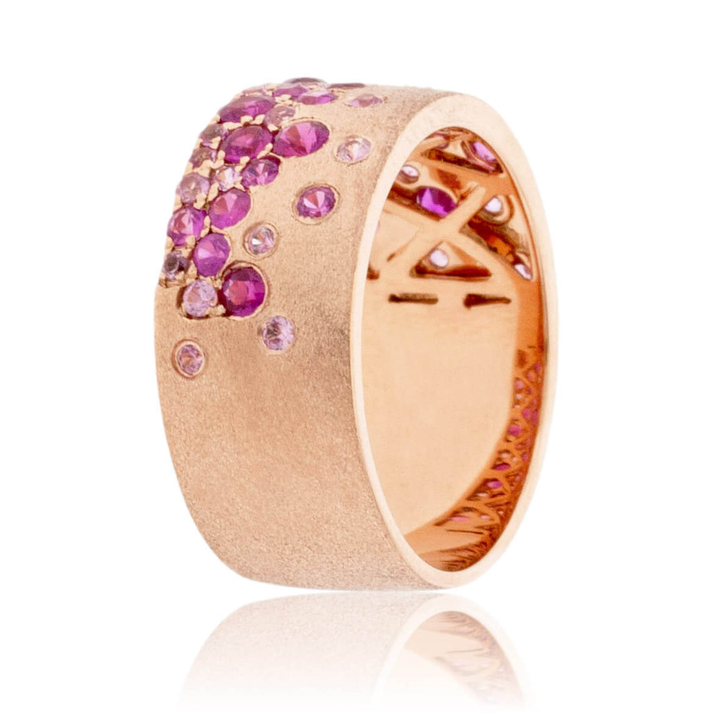 Rose Gold Satin Finish Flush Set Sapphire & Ruby Ring