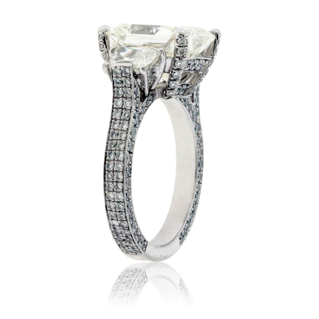 Platinum 5.66 Carat Radiant Cut & Trapezoid Diamond Ring