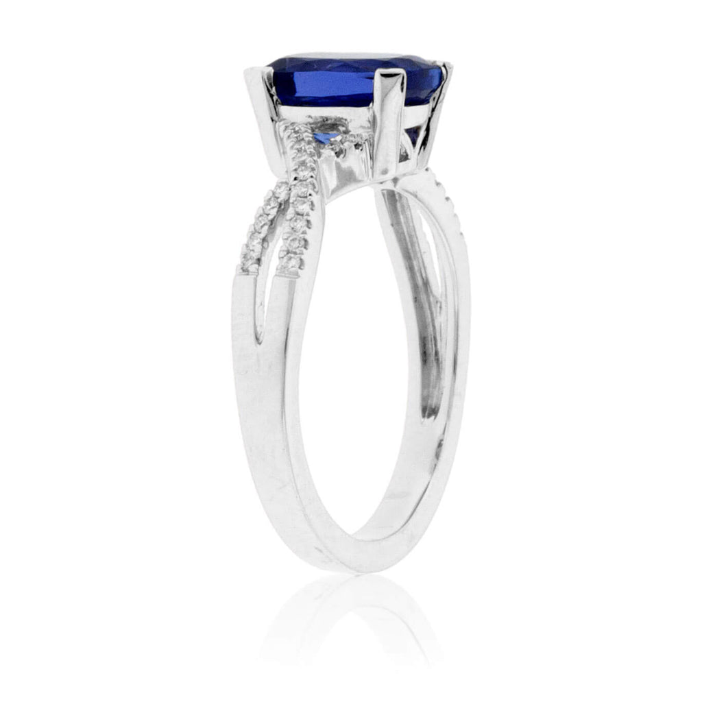 Modified Cushion-Cut Tanzanite & Diamond Ring