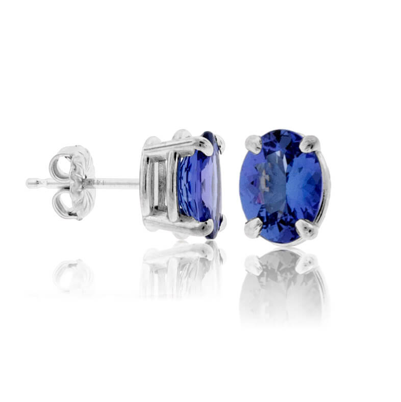 Four Prong Oval-Cut Tanzanite Stud Earrings