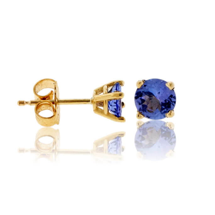 Four Prong Round Tanzanite Stud Earrings