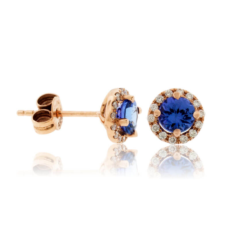 Round-Cut Tanzanite with Diamond Halo Stud Earrings
