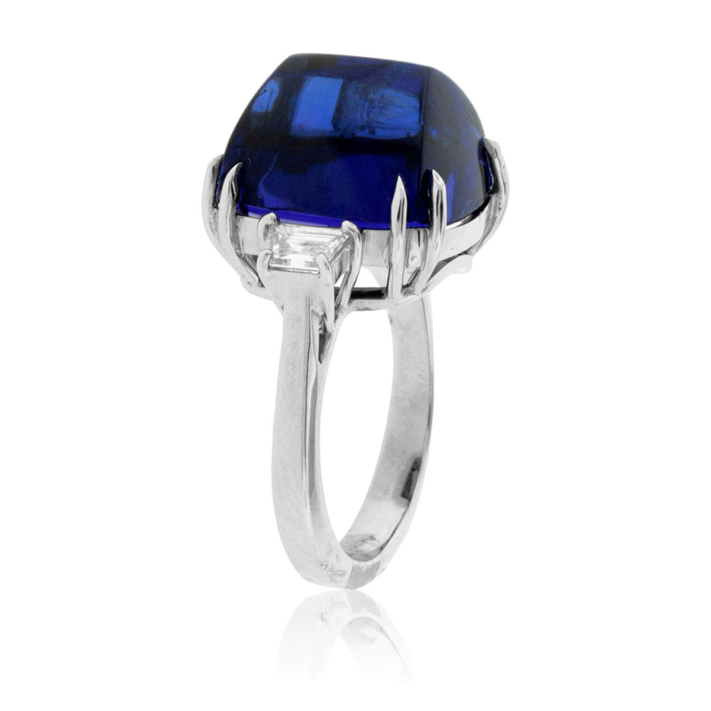 Sugar Loaf Tanzanite and Trapezoid Diamond Ring