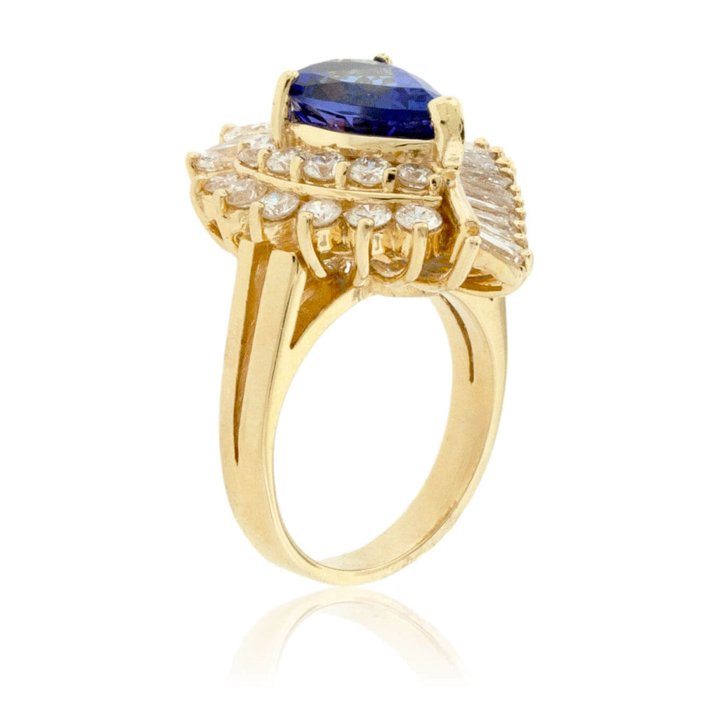 Pear-Shaped Tanzanite and Fancy Diamond Halo Ring