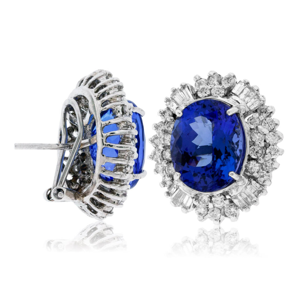 Oval Tanzanite & Stunning Classic Diamond Halo Earrings
