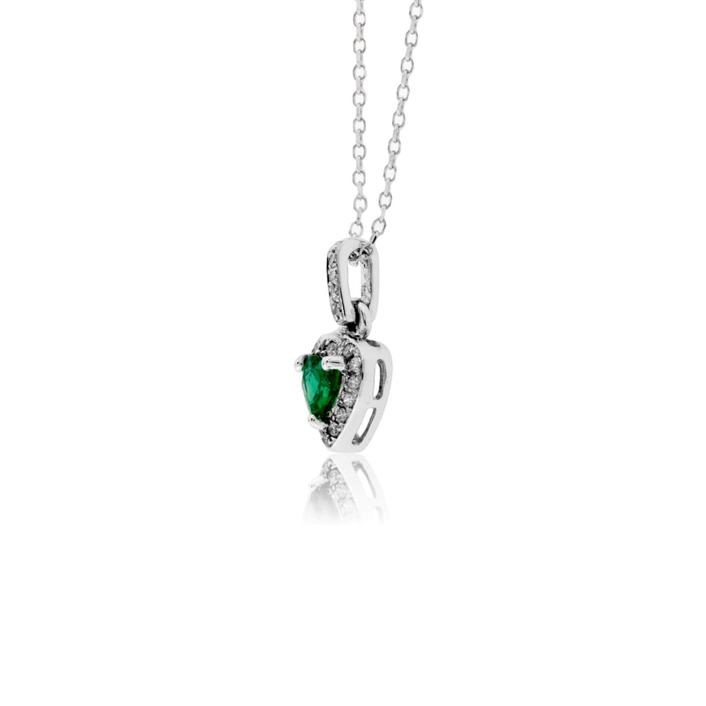 Heart Shaped Emerald Pendant with Diamond Halo