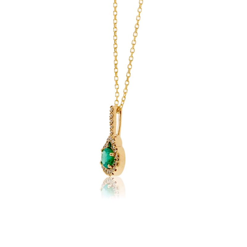 Oval Shaped Emerald Pendant with Diamond Halo