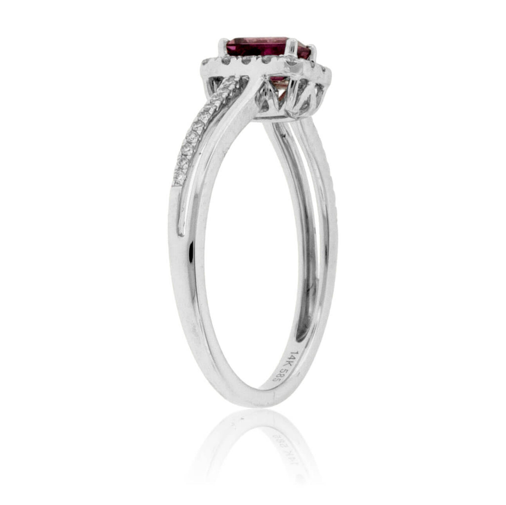 Emerald-Cut Pink Tourmaline Rubelite & Diamond Halo Ring