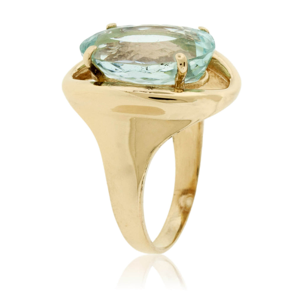 Oval-Cut Aquamarine Solitaire Style Estate Ring